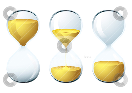 Egg timer stock vector clipart, Glass egg timer with sand trickling for the perfect breakfast by Michael Travers