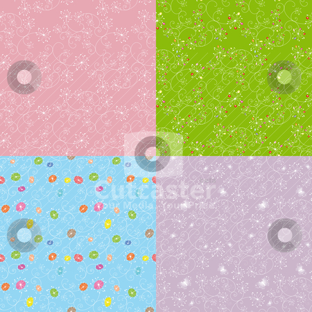 Set of floral seamless pattern stock vector clipart, Set of colorful floral seamless pattern by meikis
