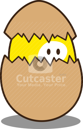 Cute little chicken stock vector clipart, cute little chicken inside shell by mhatzapa