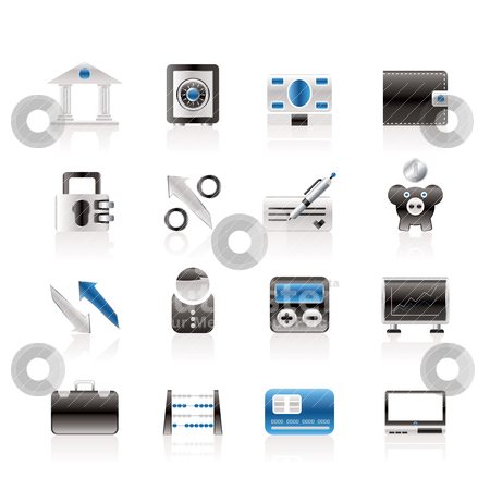 Bank, business and finance icons  stock vector clipart, Bank, business and finance icons - vector icon set by Stoyan Haytov