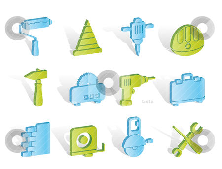 Building and Construction Tools icons  stock vector clipart, Building and Construction Tools icons - Vector Icon Set by Stoyan Haytov