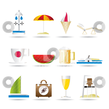 Beach and holiday icons  stock vector clipart, beach and holiday icons - vector icon set by Stoyan Haytov