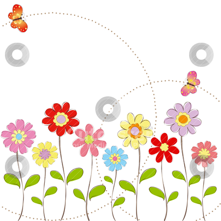 Picture Flower on Springtime Colorful Flowers With Butterfly Greeting Card Stock Vector