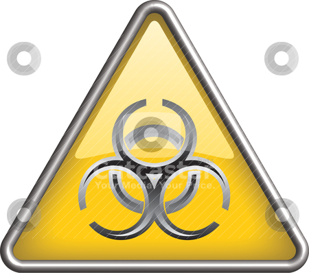 Biohazard icon symbol, icon stock vector clipart, Biohazart symbol/ icon in yellow 3D triangle by mkocijan