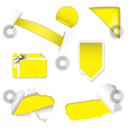 Shop sale elements yellow stock vector clipart, Collection of brightly colored shop sale tags or elements by Michael Travers