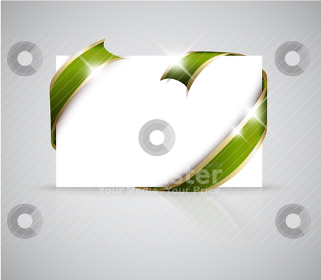 Christmas or wedding card stock vector clipart, Christmas or wedding card - Golden ribbon around blank white paper, where you should write your text by orson