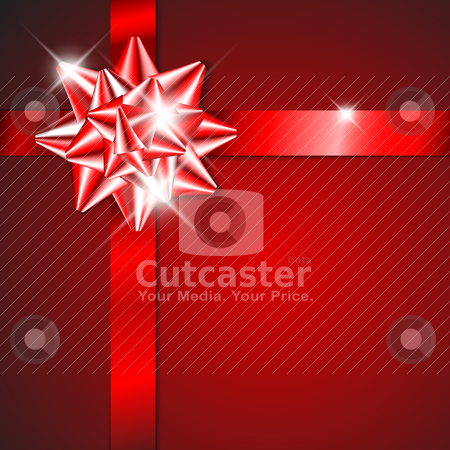 Red bow on a red ribbon with red  background stock vector clipart, Red bow on a red ribbon with red  background - vector Christmas card (no text) by orson