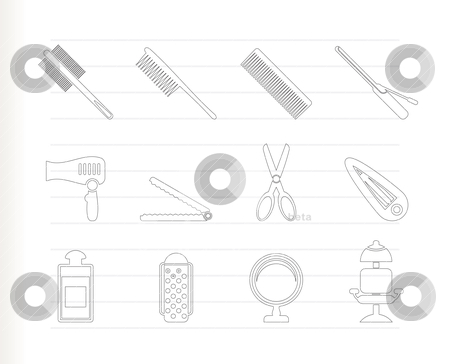 Hairdressing, coiffure and make-up icons  stock vector clipart, hairdressing, coiffure and make-up icons  - vector icon set by Stoyan Haytov