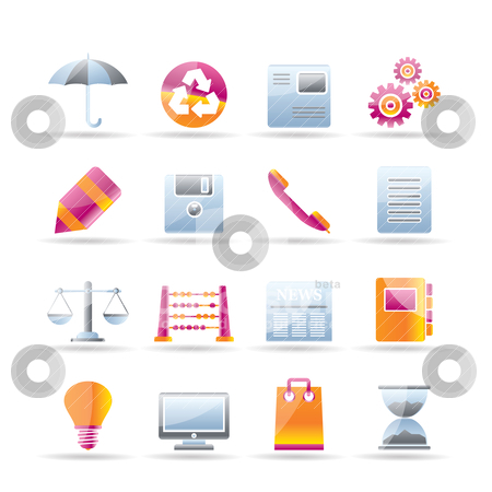 Business and Office internet Icons  stock vector clipart, Business and Office internet Icons - Vector icon Set by Stoyan Haytov