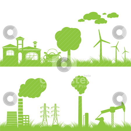 Abstract ecology, industry and nature background  stock vector clipart, abstract ecology, industry and nature background - vector illustration by Stoyan Haytov