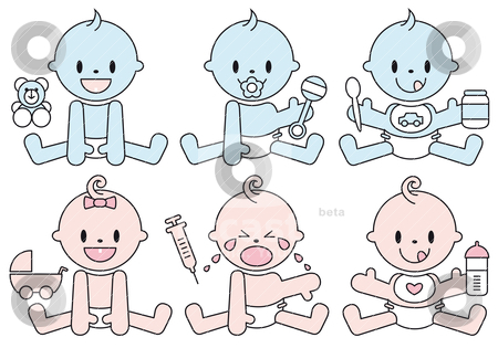 Baby boys and girls, vector stock vector clipart, set of baby boys and girls, vector illustration by Beata Kraus