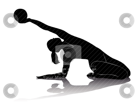 Rhythmic gymnastics stock vector clipart, black silhouette of athletes in rhythmic gymnastics on a white background by Yuriy Mayboroda