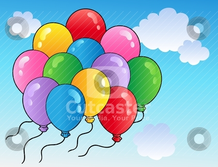 Blue sky with cartoon balloons 2 stock vector clipart, Blue sky with cartoon balloons 2 - vector illustration. by Klara Viskova