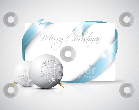 Christmas or wedding card silver ribbon around blank blue paper