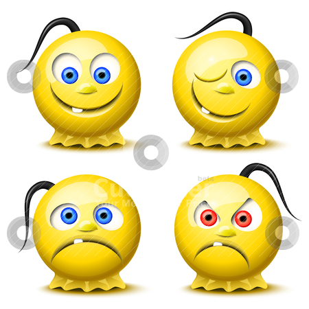Four glossy smileys  stock vector clipart, Set of four original glossy smileys by Laurent Renault