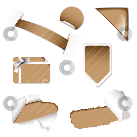 Shop sale elements brown stock vector clipart, Brown shop sale icons with torn paper and gift card by Michael Travers