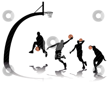 Basketball silhouettes stock vector clipart, basketball silhouettes on white background by Yuriy Mayboroda