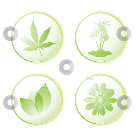 Eco icon leaf stock vector clipart, Green or eco icon set with leaf and palm tree illustrated design by Michael Travers