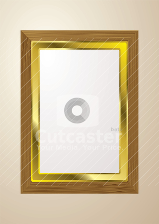 Light wood picture frame stock vector clipart, Grained light wood picture frame for gallery with gold trim by Michael Travers