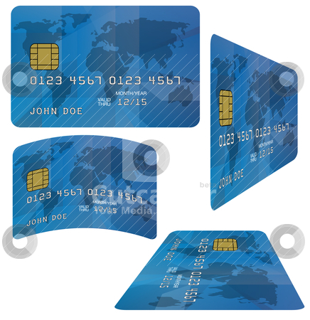 Credit Card stock vector clipart, Blue Fictitious Credit Card on White Background by JAMDesign