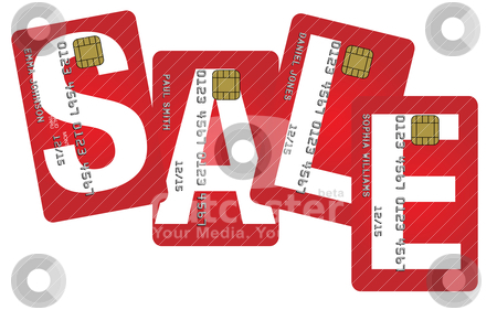 Credit Cards With Sale Sign stock vector clipart, Fictitious Credit Cards With Sale Sign Isolated on White Background by JAMDesign
