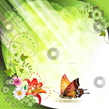 Springtime background stock vector clipart, Springtime background with butterflies by Merlinul