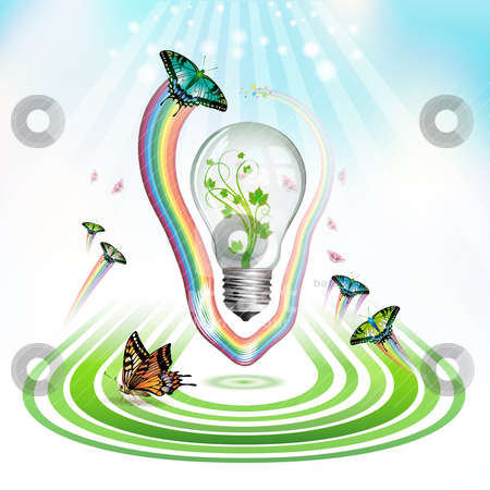 Light bulb for eco stock vector clipart, Light bulb for eco environmental concept, vector illustration by Merlinul
