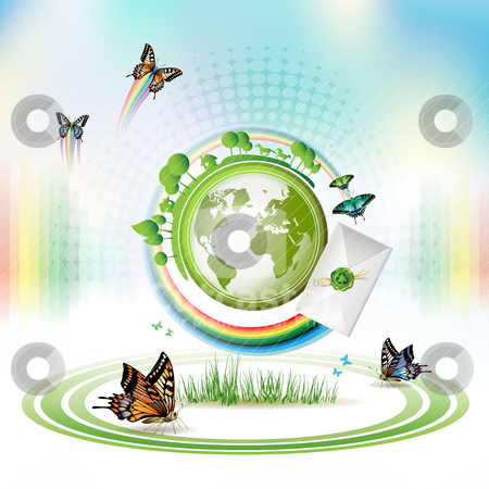 Green Earth stock vector clipart, Green Earth with butterflies and envelope over sky background by Merlinul