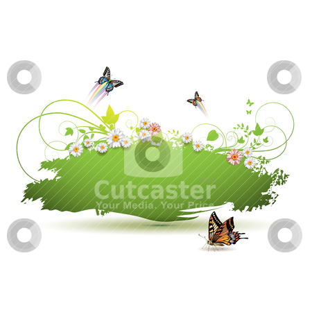 Green background stock vector clipart, Green background with flowers and butterflies by Merlinul