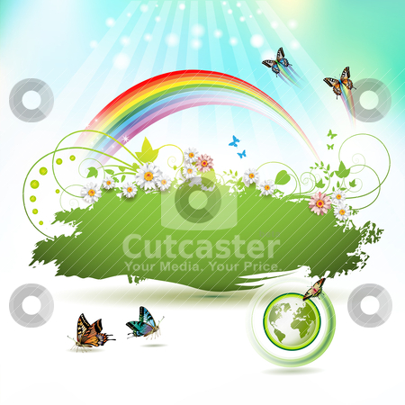 Green Earth stock vector clipart, Green Earth background with flowers and butterflies by Merlinul