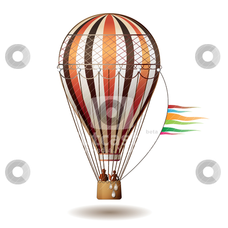 Colorful hot air balloon stock vector clipart, Colorful hot air balloon with silhouettes isolated on white background by Merlinul