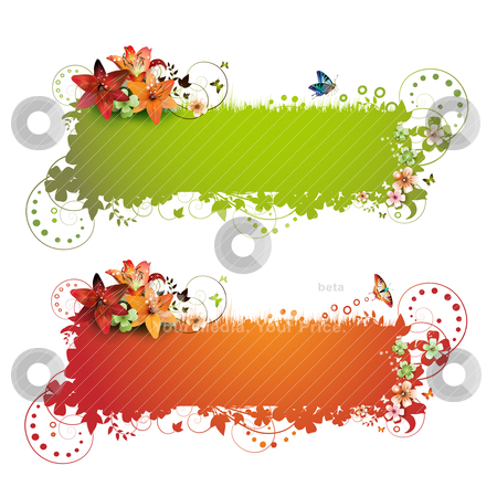 Green and red background  stock vector clipart, Green and red background with flowers and butterflies isolated on white   by Merlinul