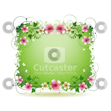 Green background with flowers stock vector clipart, Green background with flowers and butterflies isolated on white by Merlinul