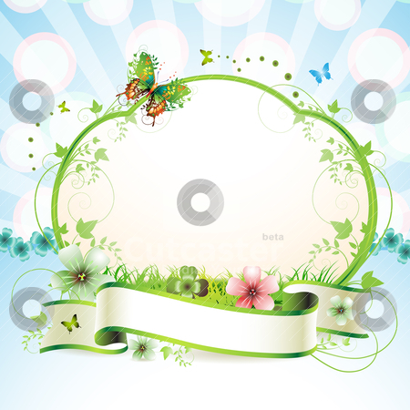 Banner with flowers  stock vector clipart, Banner with flowers and butterflies   by Merlinul