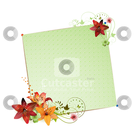 Green background  stock vector clipart, Green background with flowers isolated on white by Merlinul