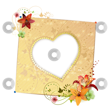 Frame background stock vector clipart, Frame background with heart shape and flowers isolated on white by Merlinul