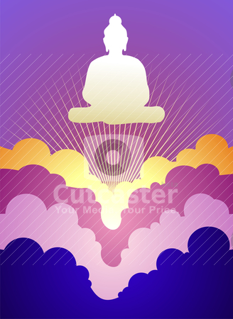 Buddha at sunrise stock vector clipart, Buddha silhouette at sunrise on violet background  Vector available. by Cienpies Design