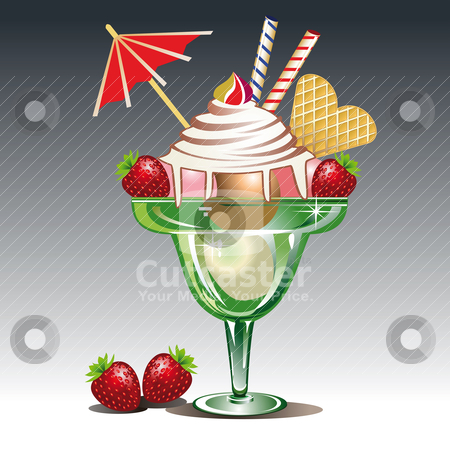 Ice cream stock vector clipart, Icecream in a glass with strawberry. Full scalable vector graphic by Ela Kwasniewski