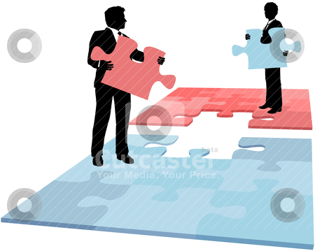 Business people puzzle piece solution collaboration merger stock vector clipart, Business people hold missing puzzle pieces needed for solution to collaboration merger partnership problem by Michael Brown