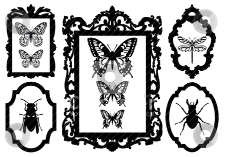 Picture Frame Love on Frames  Vector Stock Vector Clipart  Insects In Antique Picture Frames