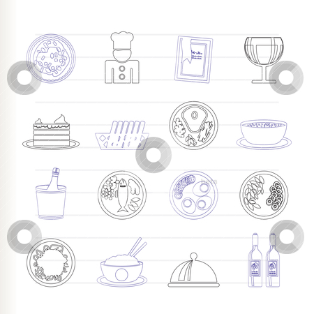 Restaurant, food and drink icons  stock vector clipart, Restaurant, food and drink icons - vector icon set by Stoyan Haytov
