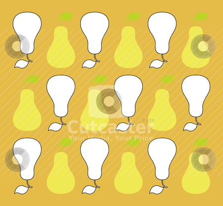 Sweet pears in vintage stock vector clipart, Eighteen iconic little pears form a repeating pattern in a vintage color scheme - horizontal format. by M. Mandarano