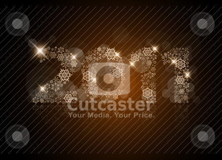 Abstract Christmas card - 2011 stock vector clipart, Abstract Christmas card - 2011 made from golden snowflakes by orson