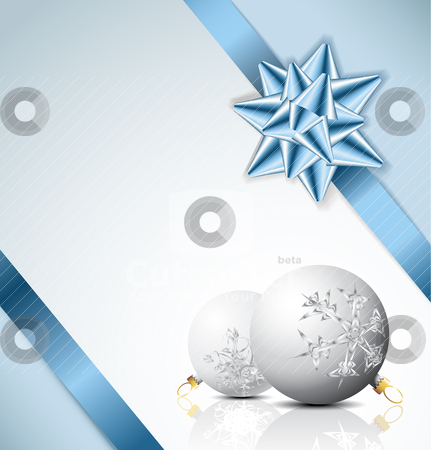 Light blue Christmas card stock vector clipart, Blue bow on a ribbon with white and blue background - vector Christmas card by orson