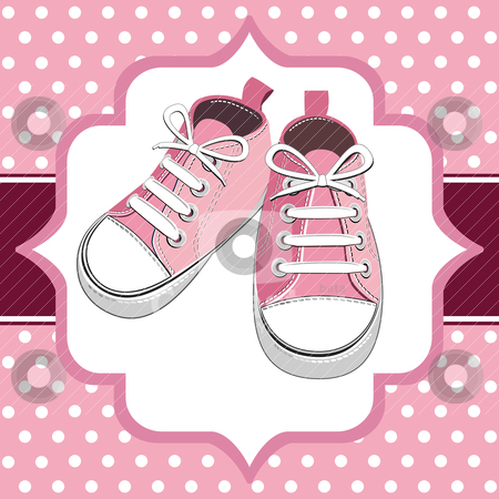 Pink kids sneaker stock vector clipart, Pink shoes on a polka dot background, childrens or young adult shoes, pair kids sneaker. by Ela Kwasniewski