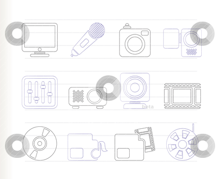 Media equipment icons   stock vector clipart, Media equipment icons - vector icon set  by Stoyan Haytov