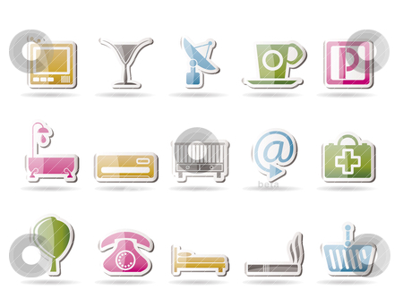 Hotel and motel icons   stock vector clipart, Hotel and motel icons  - Vector icon Set by Stoyan Haytov