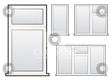 Window collection stock vector clipart, White plastic double glazed window illustration collection concept by Michael Travers
