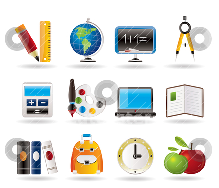 School and education icons stock vector clipart, School and education icons - vector icon set  by Stoyan Haytov
