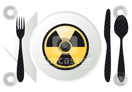 Radioactive food, vector stock vector clipart, place setting with radioactive sign on plate, vector illustration by Beata Kraus